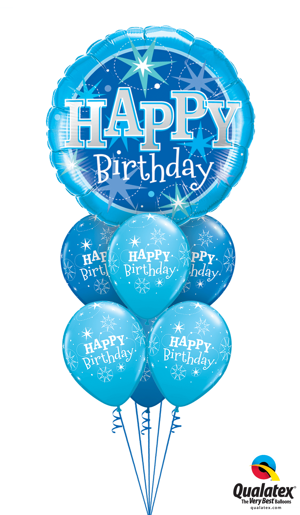 Happy Birthday Blue Sparkle Balloon Bouquet